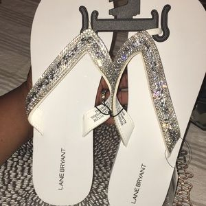 Lane Bryant Shoes - White Embellished Wedged Flip Flops